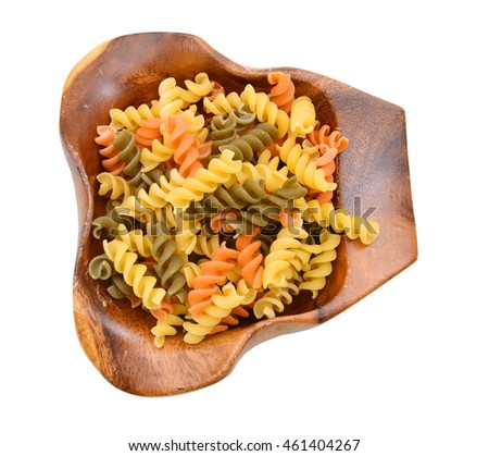 Pasta isolated in wooden bowl on white background