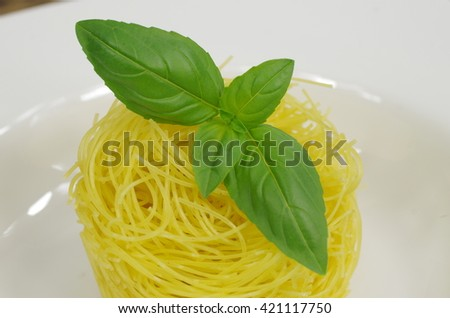 pasta macaroni with spice basil on white plate - stock photo
