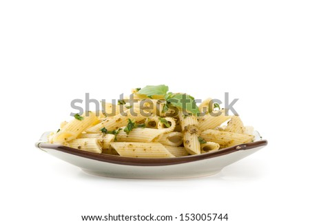 pasta on a plate  isolated on white - stock photo