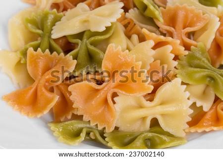 Pasta penne rigate macro. Close up. Whole background. - stock photo
