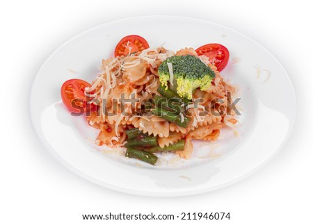 Pasta penne rigate with tomato sauce and broccoli. Whole background. - stock photo