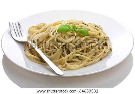 pasta pesto isolated - stock photo