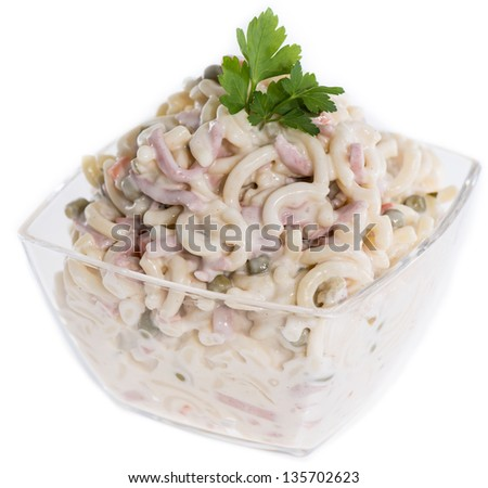 Pasta Salad with Herbs isolated on white