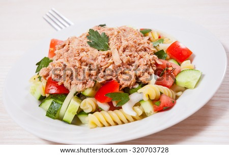pasta salad with tuna and vegetables - stock photo