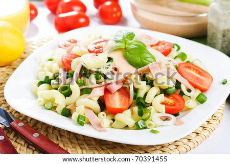 pasta salad with vegetables - stock photo