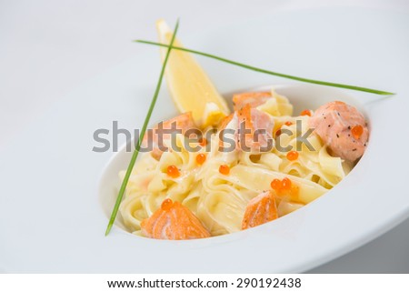 pasta salmon red caviar fish - stock photo