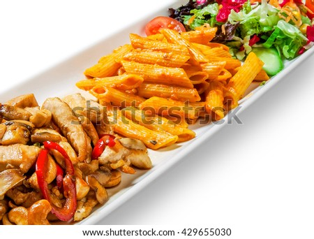 pasta sauce, meat, mushrooms and vegetables in a dish on white background - stock photo