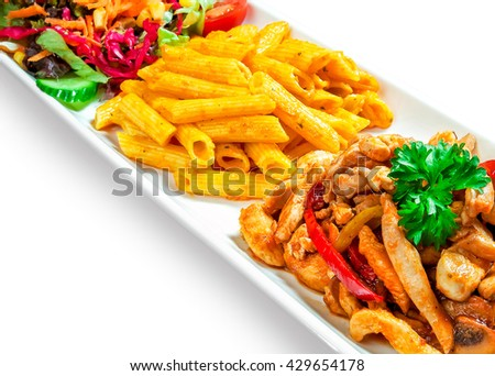 pasta sauce, meat, peppers and vegetables in a dish on white background - stock photo