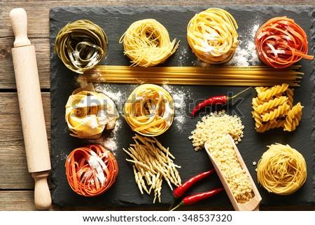 Pasta set over slate background - stock photo