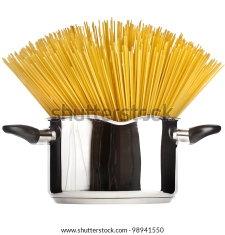 Pasta spaghetti in pot pan isolated on white - stock photo