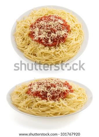 pasta spaghetti macaroni isolated on white background - stock photo