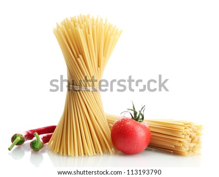 Pasta spaghetti, tomatoes and peppers, isolated on white - stock photo