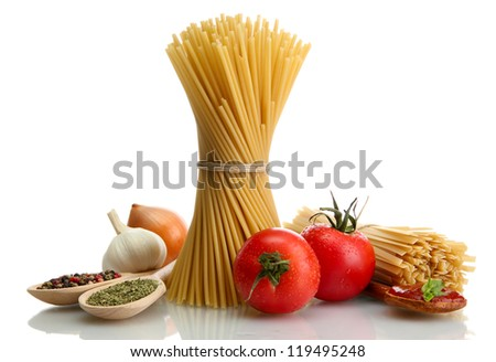 Pasta spaghetti, vegetables and spices, isolated on white - stock photo