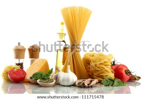 Pasta spaghetti, vegetables, spices and oil, isolated on white - stock photo