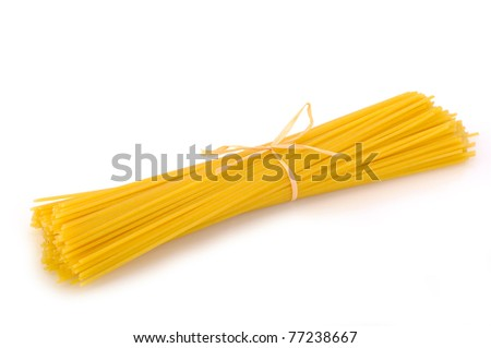Pasta (spaghetti) whole grain on white background with copy space - stock photo
