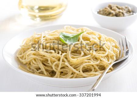 Pasta spaghetti with pesto, close-up - stock photo