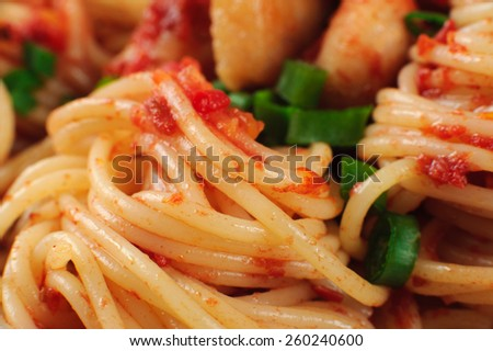 Pasta. Spaghetti with sauce and chicken. Macro. Close up.