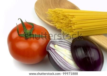 Pasta, tomato  and red onion - stock photo