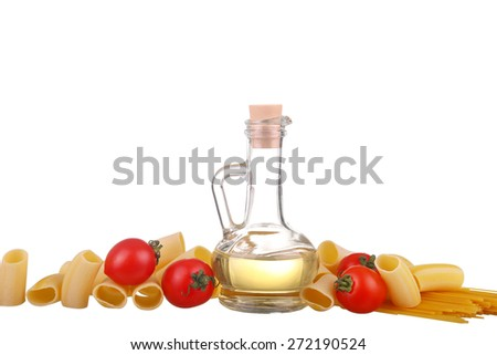 Pasta, tomatoes, basil . Isolated on white background - stock photo