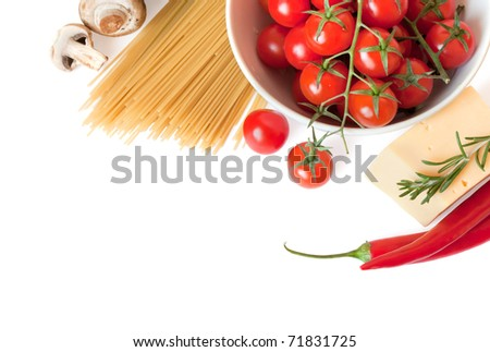 Pasta, tomatoes, cheese and , mushrooms are isolated on a white background - stock photo