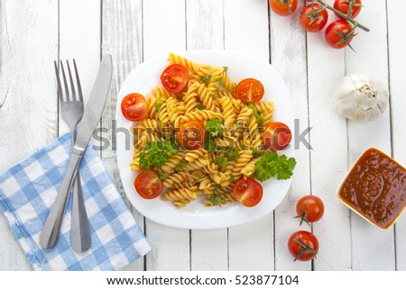 pasta tomatoes kitchen table cook rustic wooden background