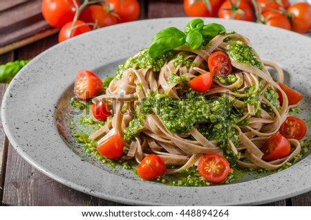 Pasta with basil pesto and parmesan, french parmesan basil pesto with garlic