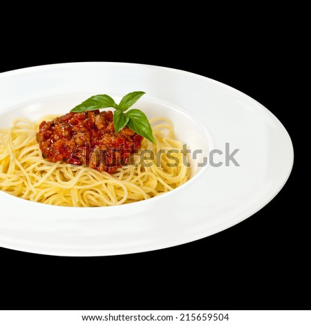 Pasta with Bolognese Sauce and Basil. Isolated.