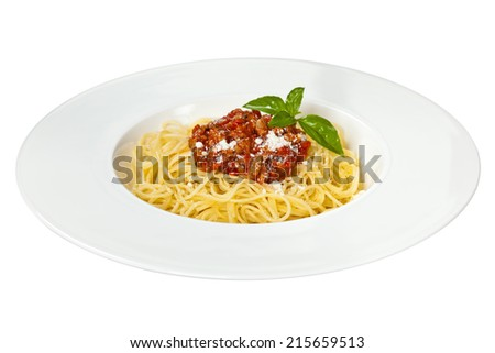 Pasta with Bolognese Sauce, Parmesan Cheese and Basil. Isolated.