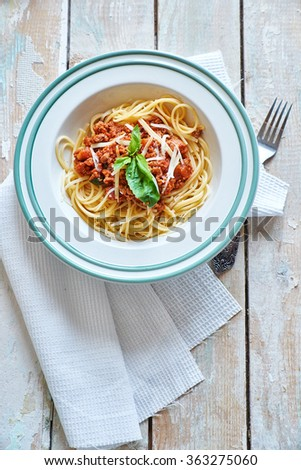 Pasta with bolognese sause - stock photo