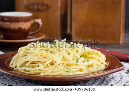 Pasta with bread crumbs, horizontal