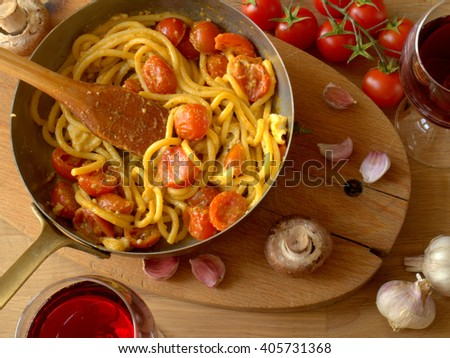 Pasta with cherry tomatoes  - stock photo
