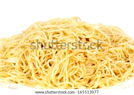 Pasta with garlic and oil .