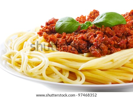 pasta with meat sauce on a white background - stock photo
