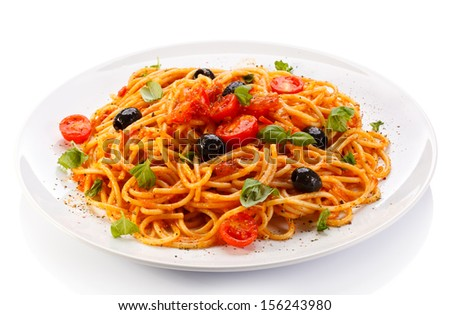 Pasta with meat, tomato sauce, parmesan and vegetables  - stock photo