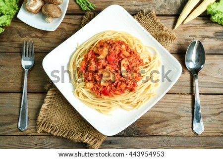 pasta with meatballs and parsley with tomato sauce, The spaghetti