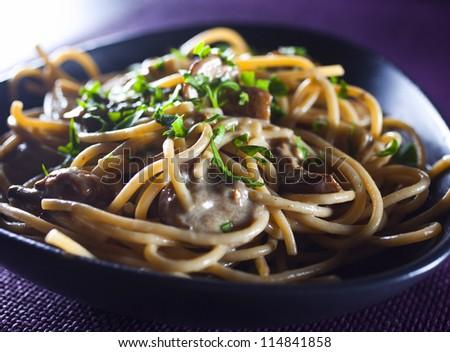 Pasta with mushrooms - stock photo