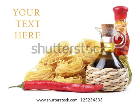 Pasta with olive oil isolated on white