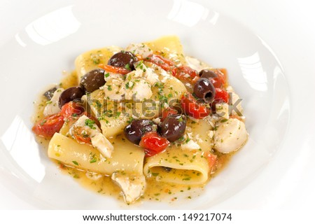 pasta with olives, cherry tomatoes and fish