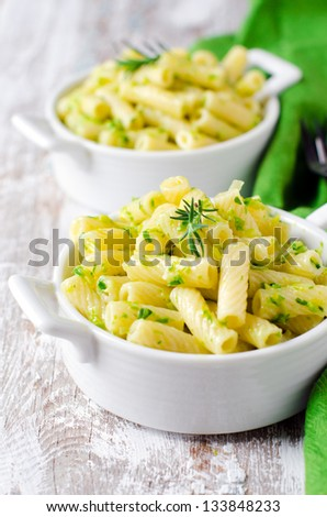 Pasta with pesto sauce ,selective focus