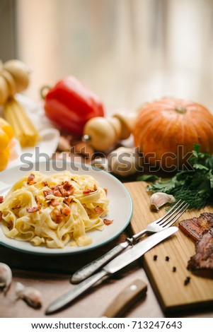 pasta with pumpkin and bacon