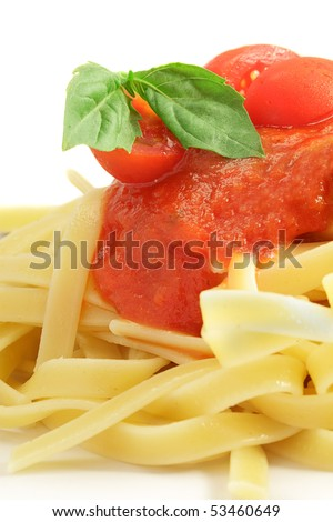 Pasta With Sauce and A Basil Leaf - stock photo