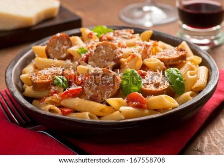 Pasta with Sausage - stock photo