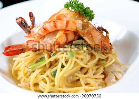 Pasta with seafood - stock photo