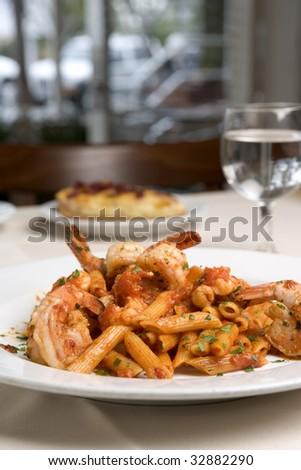 Pasta with Shrimp - stock photo