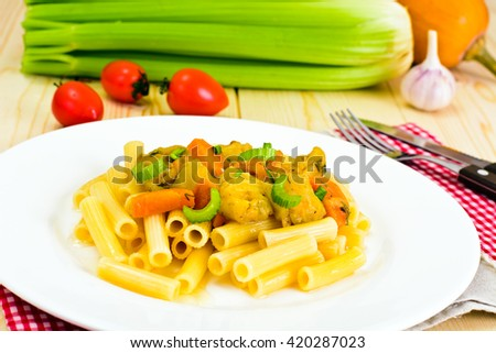 Pasta with Stewed Vegetables Studio Photo