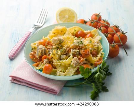 pasta with swordfish ragout, selective focus - stock photo