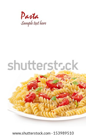 pasta with tomato, basil and grated cheese