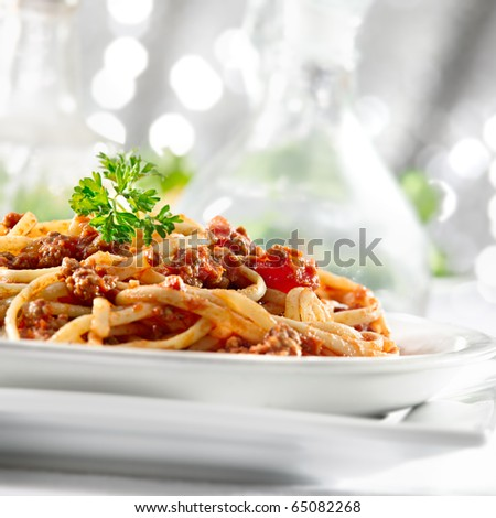 pasta with tomato sauce and meat - stock photo