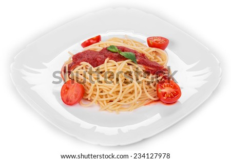 Pasta with tomato sauce Isolated on a white background.