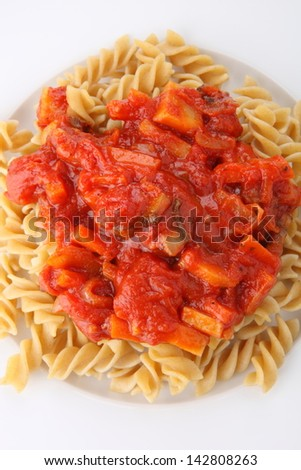 Pasta with tomato sauce with vegetable